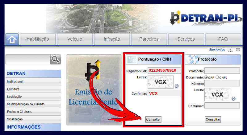 Consulta Pontuação CNH Detran PI