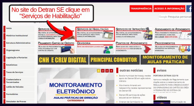Consulta Pontuação CNH Detran Sergipe